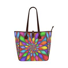 "Psychedelic Rainbow Petals Tote Bag 13"" Classic Tote Bag (Model 1644)"