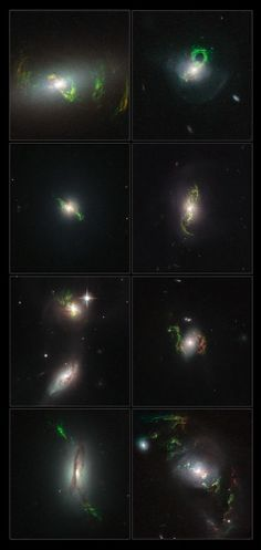 The NASA/ESA Hubble Space Telescope has imaged a set of enigmatic quasar ghosts — ethereal green objects which mark the graves of these objects that flickered to life and then faded. The eight unusual looped structures orbit their host galaxies and glow in a bright and eerie goblin-green hue. They offer new insights into the turbulent pasts of these galaxies. Image credit: NASA, ESA, Galaxy Zoo team & W. Keel (University of Alabama, USA)