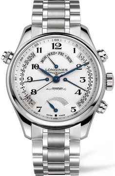 Longines Master Collection Gents XL chronograph steel case with steel bracelet and automatic movement #luxurywatch #longines #chronograph longines chronograph Swiss Watchmakers  Pilots Divers Racing watches #horlogerie @calibrelondon