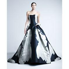 Carolina Herrera Abstract-Print Jacquard Gown ($7,990) ❤ liked on Polyvore
