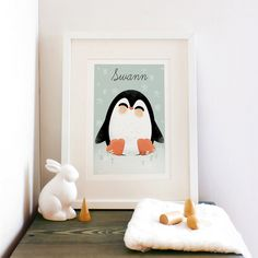 Affiche A3 les Animignons le pingouin (personnalisable)
