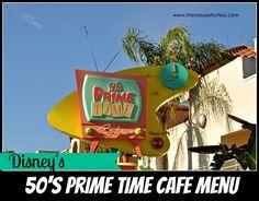 50's Prime Time Cafe Menu - at Disney's Hollywood Studios #DisneyDining #WaltDisneyWorld #passporter