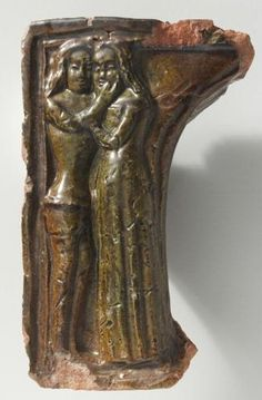 lovers -- fragment of niche-tile, c.1390. Schweizerisches Landemuseum, Zurich. Cheek-caressing gesture