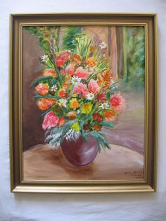Oil painting Flowers on wood fiber 196 x 157 by MarikaArt on Etsy Antique Pictures, Oil Painting Flowers, Wood Art, Flower Art, Fiber, Bouquet, Marvel, Hand Painted, Vase