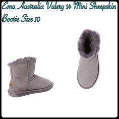 "Emu Australia Valery 14 Mini Sheepskin Bootie Emu Australia Valery 14 Mini Sheepskin Bootie Size 10/ Color: Ash / Flat ankle Bootie/ Water resistant sheepskin/Embossed Wood Button accents / Raw edged scalloped sheepskin top line/ Measurements Heel Height 0.75""/Platform sole 0.5""/Shaft Height 6.5""/ Calf  Circumference 12.5"" Emu Australia Shoes Ankle Boots & Booties"