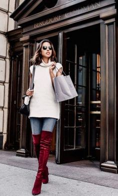 justthedesign: Annabelle Fleur makes a statement in these crimson over the knee boots, jeans, and a knitted vest. Street Style 2016, Street Style Looks, Stuart Weitzman, Fall Outfits, Cute Outfits, Over The Knee Boot Outfit, Viva Luxury, Red Boots, Burgundy Boots