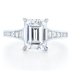 Emerald Cut Diamond And Platinum Ring with a Step Cut Diamond Band Style No. Emerald Cut Diamond Engagement Ring, Platinum Diamond Rings, Best Diamond, Emerald Cut Diamonds, Diamond Bands, Diamond Cuts, Diamond Jewelry, Engagement Ring Photos, Or Rose