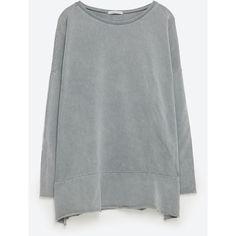 Zara Oversized Sweatshirt ($30) ❤ liked on Polyvore featuring tops, hoodies, sweatshirts, grey, oversized tops, gray sweatshirt, grey top, oversized sweatshirts and zara top