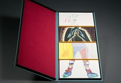 A Printer's Exquisite Corpse  Thirty-eight 5″ x 8″ cards printed by thirty-four different printers. The whole organized and published by the Silver Buckle Press at the University of Wisconsin, Madison Libraries in 1992. The box is covered in various colors of Van Heek, Brillianta book cloth and divided into 4 compartments at BookLab, Inc. in Austin, Texas.