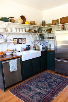 Cabinet color, open shelving.