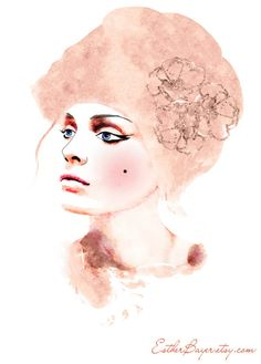 "Watercolor Mixed Media Fashion Illustration Print. Soft Rose Pink Hues. by Esther Bayer ""very loosely inspired by Marie Antoinette as well as an editorial in vogue Russia from 2010"" via Etsy."
