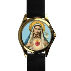 Popular Sacred Virgin Mary,Catholic Religious Unisex Silver-tone Round Leather Metal Watch *** Don't get left behind, see this great  product : Travel Gadgets
