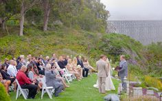 A side view of a wedding ceremony at Albion River Inn.