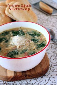 Creamy Artichoke, Spinach and Chicken Soup