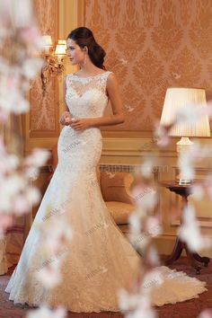 Elegant Mermaid Bateau Neck Sequins Lace Court Train Wedding Dress It is YE4602301, not Sophia Tolli style Mirri Y11419 | Bridalpure.com