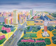 Ciudad de Buenos Aires I – Aniko Szabo Travel Illustration, Naive Art, Presentation, Landscape, City, Places, Painting, Maps, Buildings