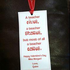Bookmarks for teacher valentines