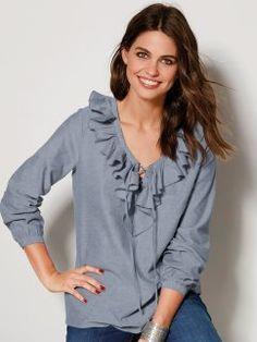 Blusa mujer con volante en tejido algodón chambray Chambray, Long Sleeve, Sleeves, Mens Tops, T Shirt, Women, Fashion, Shopping, Blouses