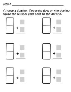 math worksheet : domino addition freebie  i need this for my domino parking lot  : Domino Addition Worksheet