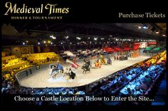 Midieval Times Dinner & Tournament ~The show begins with a greeting from King Alfonso and his daughter, Princess Esperanza.  Guests are served by serfs or wenches, starting with vegetable soup, followed by roast chicken, spare ribs, half of a potato, and a pastry.  No silverware is allowed.