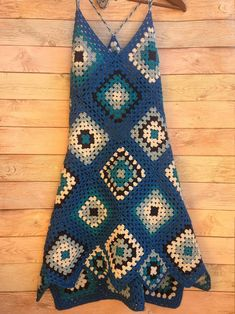 CROCHET Beach cover up DRESS women /Blue / Wrap Dress Backless and straps halter / Granny square / Crochet Dress Holiday Crochet Beachwear Boho Dress Tunic Summer One of design Crochet Lace Dress, Hand Crochet, Crocheted Lace, Blue Beach Dresses, Poncho Pullover, Holiday Crochet, Crochet Clothes, Boho Dress, Bohemian Dresses