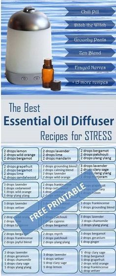 The Best Essential Oil Diffuser Blends for Stress (with free printable)