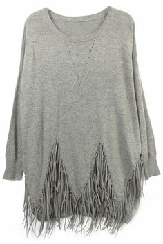 ROMWE Asymmetric Tasseled Grey Jumper-perfect for just another casual fall day Fashion Mode, Look Fashion, Hippie Style, Do It Yourself Fashion, Look Boho, Mein Style, Fringe Sweater, Looks Chic, Mode Inspiration