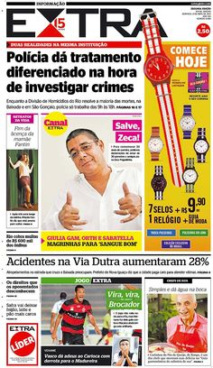21-04-2013 - Capas do Jornal Extra - Primeira página do Jornal Extra do Rio - Extra Online