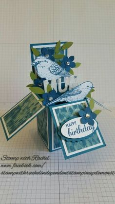 The square card in a box ive made using stampin up best birds stampset & designer series paper - please do not copy my design!! - Stamp with rachel -