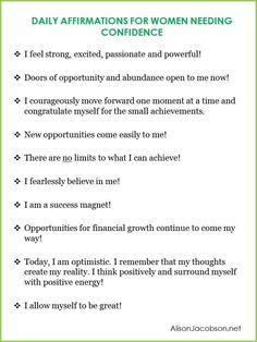 Daily Affirmations for Women Needing Confidence