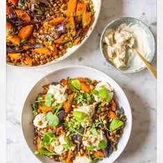There's a new recipe for you on the blog today  A warm roasted carrot, red onion and lentil salad with roasted pine nuts, fennel seeds, a sprinkling of watercress and dollops of creamy cashew 'cheese'  Perfect for a sunny Saturday ✌️To get the recipe click the link in my bio, or head to deliciouslyella.com