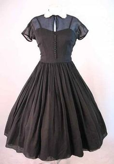 1950's sheer cotton voile full skirted dress