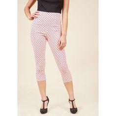 Hell Bunny Jive Got a Feeling Pants ($40) ❤ liked on Polyvore featuring pants, capri pants, high-waist trousers, pink trousers, pink pants and polka dot pants