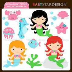 Mermaid and Friends Clip Art Set by babystardesign on Etsy, $5.95