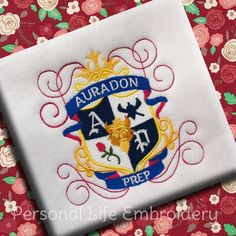 Descendants Auradon Prep School Crest Machine Embroidery Design Pattern INSTANT DOWNLOAD Digital Rotten Core Mal Evie Carlos Jay Malificent by PersonalLife on Etsy