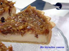 Tarta de queso y vainilla con nueces y toffee