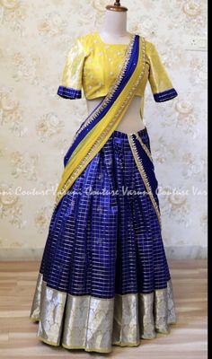 57 trendy clothes for women outfits style color combos Lehenga Saree Design, Half Saree Lehenga, Lehenga Designs, Kids Blouse Designs, Bridal Blouse Designs, Saree Blouse Designs, Half Saree Designs, Stylish Blouse Design, Indian Gowns Dresses
