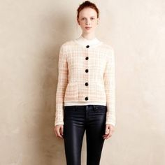 Anthropologie Chanel tweed style sweater- jacket VGUC. Worn once and dry cleaned. Knitted and Knotted brand. One thread loose, pulled inside sweater so that it is not noticeable at all. Anthropologie Sweaters Cardigans