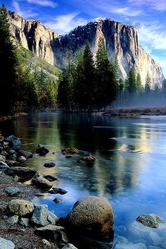 Yosemite National Park, California, U.S.A. El Capitan and Merced River. Not just a great Valley...but a shrine to human foresight, strength of granite, power of glaciers, the persistence of life, and the tranquility of the High Sierra.