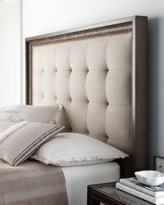 recreate for guest room - I'm thinking black stained wood with gold fabric tufted