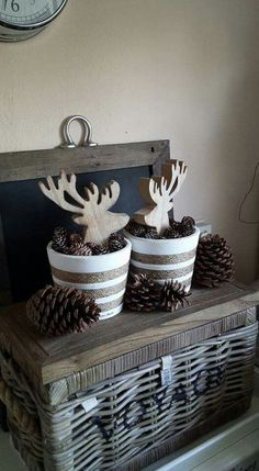Reindeer decorations fit any Christmas decor. Add some pine cones and you're good to go! Reindeer decorations fit any Christmas decor. Add some pine cones and you're good to go! Reindeer Decorations, Decoration Christmas, Fall Decor, Holiday Decor, Nordic Christmas, Christmas Mood, Christmas Crafts, Deco Table Noel, Reno