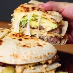 Quesadilla Big Mac⠀ Here's the ingredients you'll need:⠀ _____________________⠀ 4 cups beef mince⠀ 1 tbsp salt⠀ 1 tbsp pepper⠀ 1 tsp garlic powder⠀ 6 large tortillas⠀ 2 cups each of grated cheddar and mozzarella, mixed⠀ 2 cups chopped iceburg lettuce⠀ Beef Recipes, Mexican Food Recipes, Chicken Recipes, Cooking Recipes, Healthy Recipes, Cooking Tv, Fastfood Recipes, Cooking Sushi, Hamburger Recipes