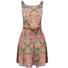 Paisley Print Belted Pleat Dress ($24) ❤ liked on Polyvore featuring dresses, paisley print dress, no sleeve dress, sleeveless dress, multi color dress and multi colored dress