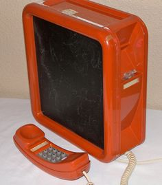 Retro Vintage Working Orange Wall Phone with by Vintage925 on Etsy, $45.00