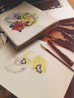 #drawing #ink #loki #thor #nerd #tattoo #tattooideas #tattoodesigns #watercolour #pencilcrayon #linepractice