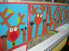 Cute Christmas Activity -- Rudolph the Red-Nosed Reindeer looking through the window collage