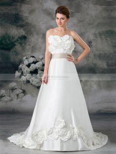 Diya - Robe de mariée A-ligne col droit traine moyenne avec rossettes 3D et ceinture satin