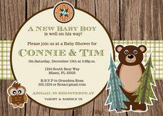 Rustic Camping  Baby Shower or Birthday Invitation Digital File YOU-PRINT. $11.00, via Etsy.