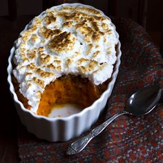 sweet potato casserole with maple pecans and italian meringue