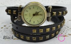 vintage retro woman girl ladies 3 three wrap 4 colors fashion rivet punk long leather strap bracelet lady wristwatch watch hour-in Women's Watches from Watches on Aliexpress.com | Alibaba Group